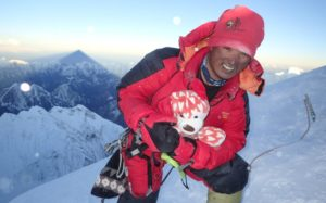 Pemba Sherpa of High Adventure Expeditions on the summit of Mount Everest